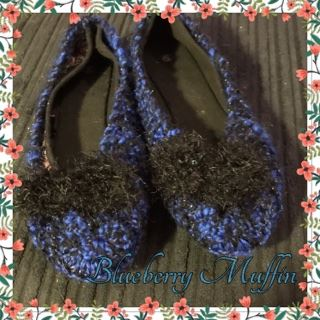 BLUEBERRY MUFFIN: Hand-knitted Ballet Slippers