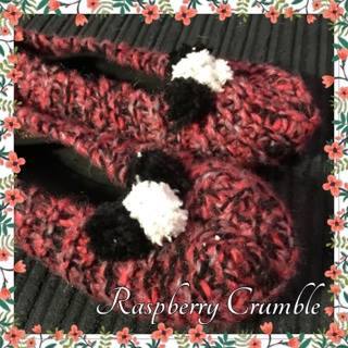 RASPBERRY CRUMBLE:  Hand-knitted Ballet Slippers