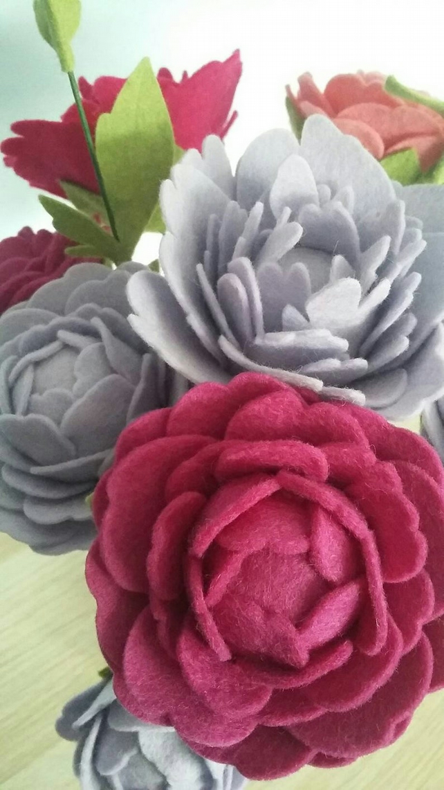 Beautiful Felt Peony Bouquet