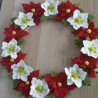 Felt Flower Christmas Wreath
