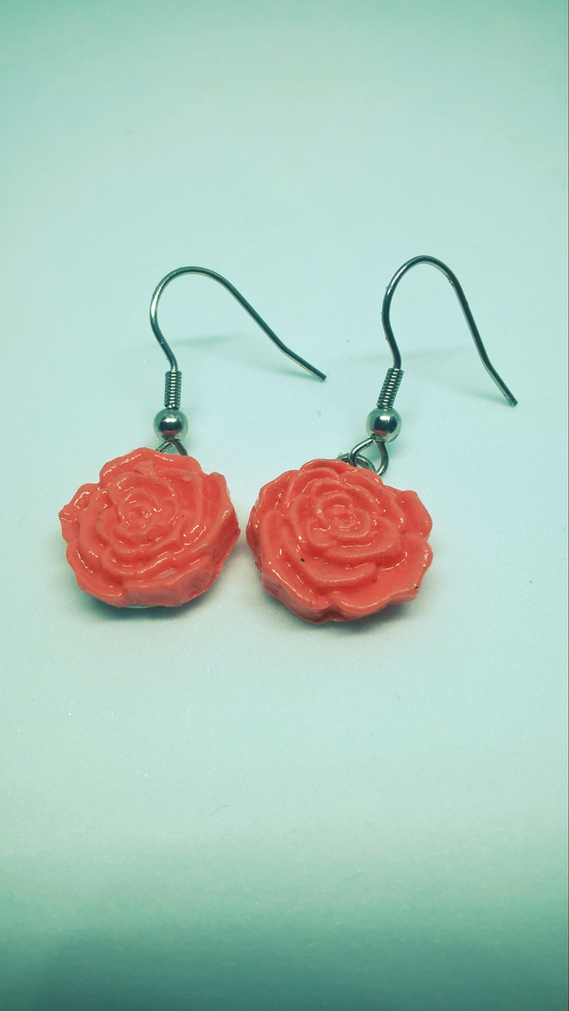 Peach colour rose earrings