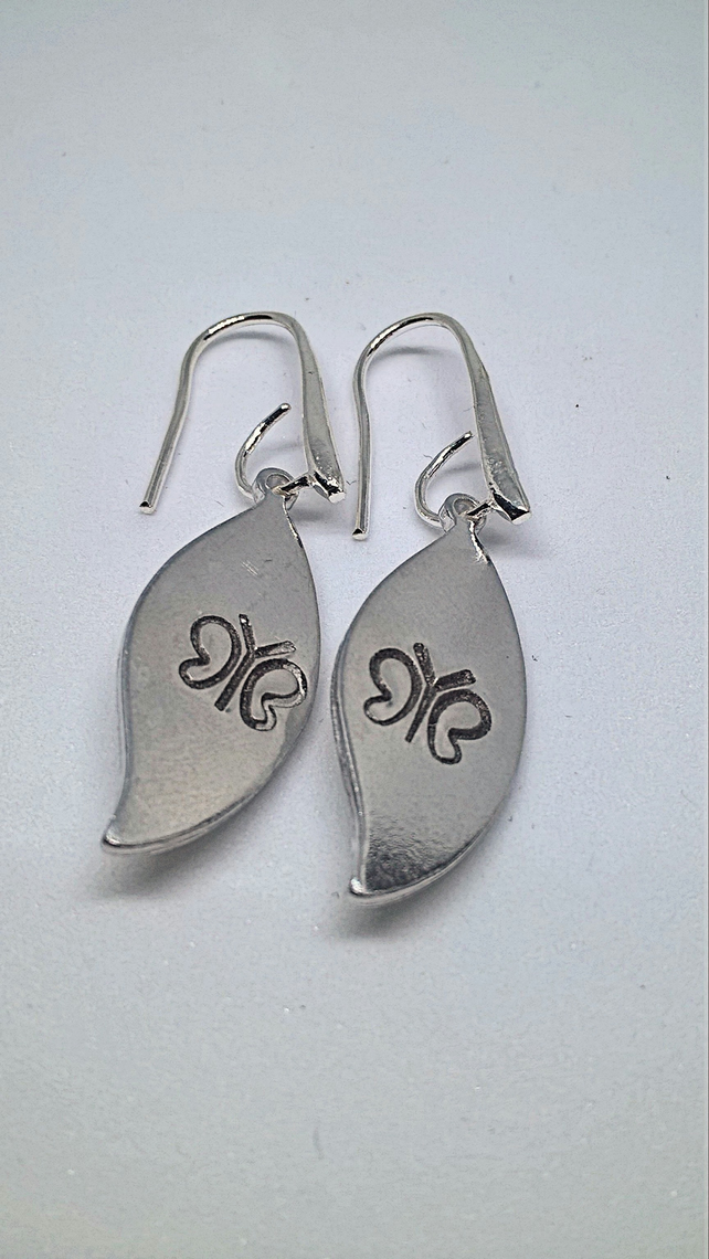 Leaf and butterfly earrings