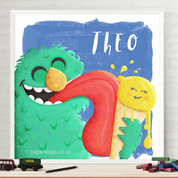 Monster Nursery Personalised Name Print, Ice Cream Love, Cute & Cuddly Wall art