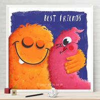 Best Friends Monster Nursery Personalised Name Print, Big hugs Kids Wall Art