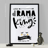 Drama King Personalised Kids Art Nursery Quote Print Scandinavian Kids Wall Art