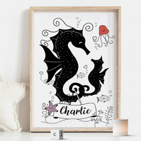 Seahorses Tails Nursery Name Print, Personalised Kids art Poster, Nautical Decor