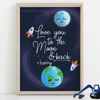 Love you to the moon and back, Personalised childrens Nursery art print, Rockets