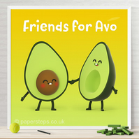 Avocado halves characters, Family art, Nursery print, Personalised wall art