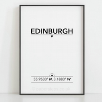 Edinburgh poster, Location coordinates, Edinburgh wall art, Minimalist prints
