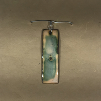 Green and Peach Enamel Rectangle Pendant