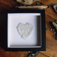Sea glass love heart picture in shades of white