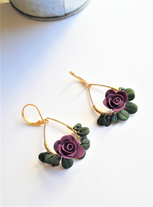 Purple Flowers Earrings Roses Jewellery