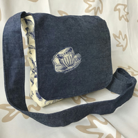 Handmade, tea cup, Medium size Messenger style bag