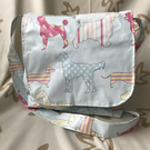 Handmade, oilcloth dogs, larger size Messenger style bag