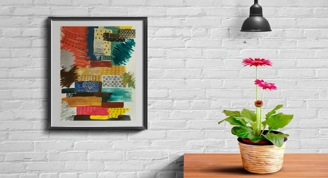 Original Abstract Painting, colorful design mix media art, wall art, decoration