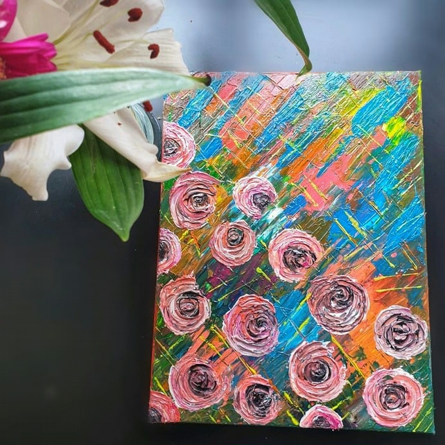 Original Acrylic painting, Abstract Floral Painting, knife mixed media art