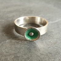 Sterling silver and green enamel ring