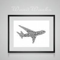 Personalised Aeroplane Design Word Art Gifts