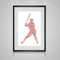 Personalised Baseball Design Word Art Gifts