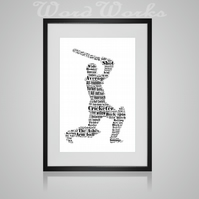 Personalised Cricket Design Word Art Gifts