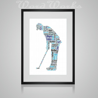 Personalised Golfer Golf Design Word Art Gifts