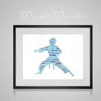 Personalised Martial Arts Jujitsu Karate Judo Taekwondo Design Word Art Gifts