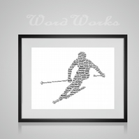 Personalised Skiing Ski Design Word Art