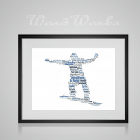 Personalised Snowboarder Snowboarding Design Word Art