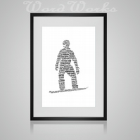 Personalised Snowboarding Snowboarder Design Word Art