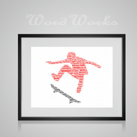 Personalised Skateboarder Skateboard Stunt Design Word Art