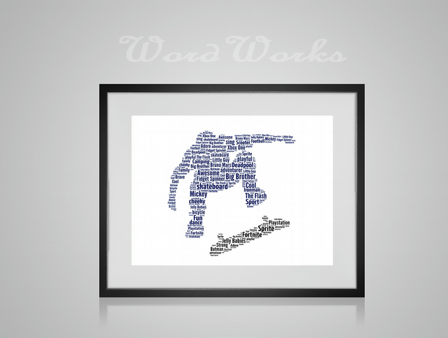 Personalised Skateboard Skateboarder Stunt Design Word Art