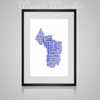Personalised Bristol Map Design Word Art Gifts