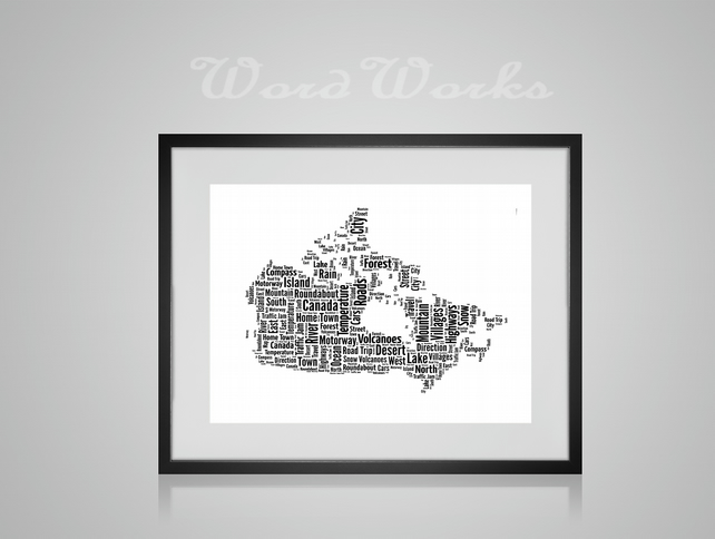 Personalised Canada Map Design Word Art Gifts
