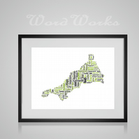 Personalised Cornwall Map Design Word Art Gifts