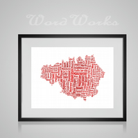 Personalised Manchester Map Design Word Art Gifts