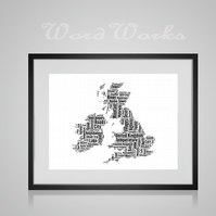 Personalised United Kingdom Map Design Word Art Gifts