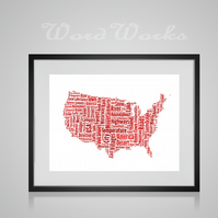 Personalised USA Map Design Word Art Gifts