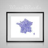 Personalised France Map Design Word Art Gifts