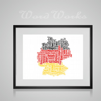 Personalised Germany Map Design Word Art Gifts