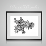 Personalised Glasgow Map Design Word Art Gifts