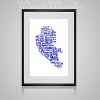 Personalised Liverpool Map Design Word Art Gifts