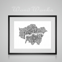 Personalised London Map Design Word Art Gifts