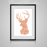 Personalised Stag Design Word Art Gifts