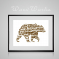 Personalised Bear Design Word Art Gifts