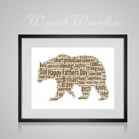 Personalised Brown Bear Design Word Art Gifts