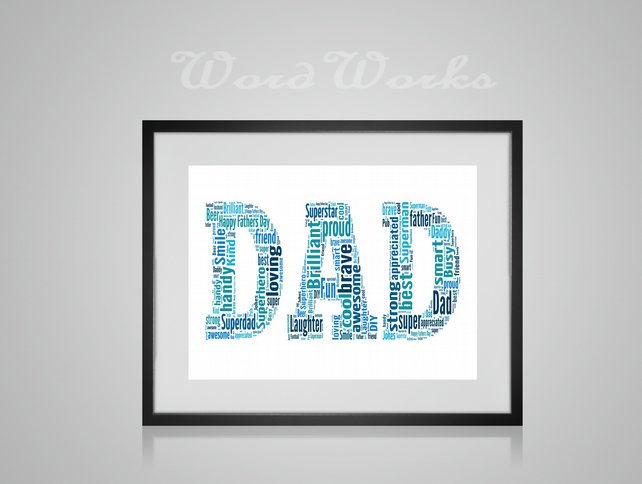 Personalised DAD Design Word Art Gifts