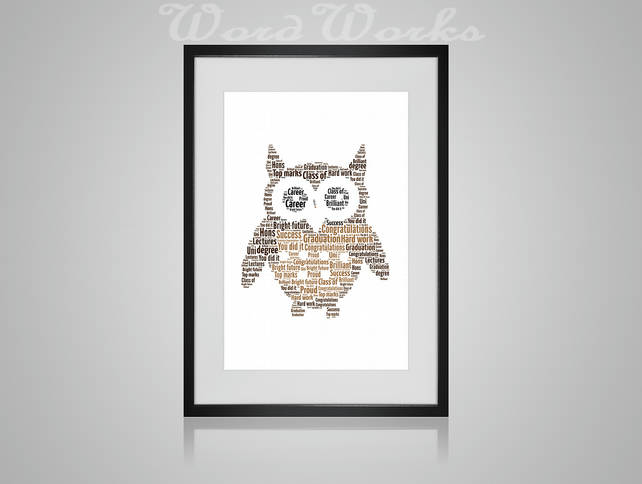 Personalised Graduation Owl Design Word Art Gifts