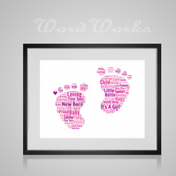 Personalised New Baby Girl Feet Word Art Design