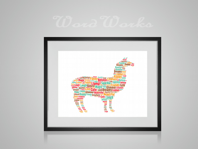 Personalised Llama Design Word Art Gifts