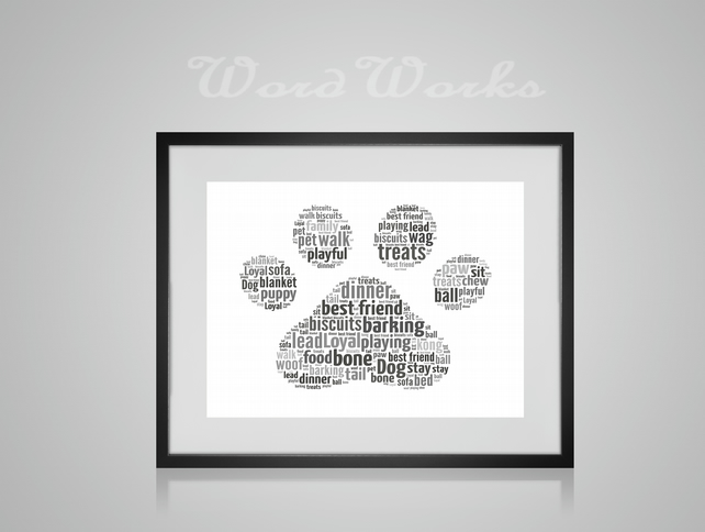 Personalised Dog Paw Print Design Word Art Gifts